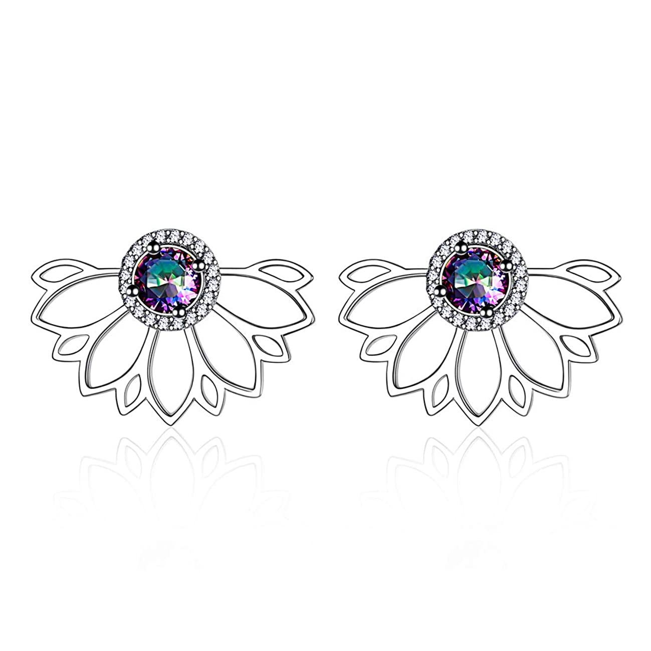 ChicSilver Ear Jacket Stud Lotus Flower Earrings for women girls, 925 Sterling Silver Mystic Topaz Stud Earrings Chic Jewelry