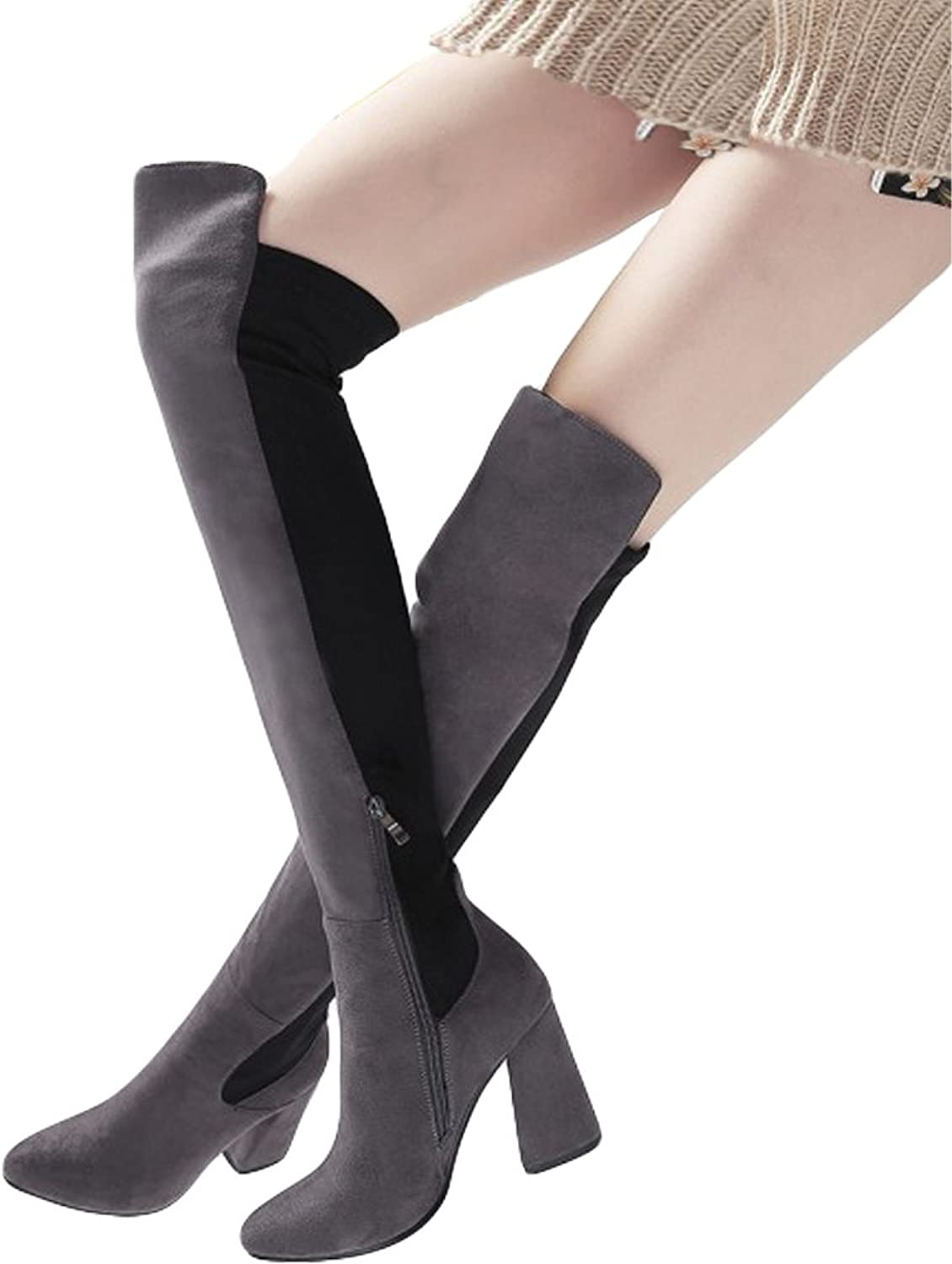 Seacat Women's Suede Stretch Over The Knee Side Zipper Thigh High Chunky Heel Boots