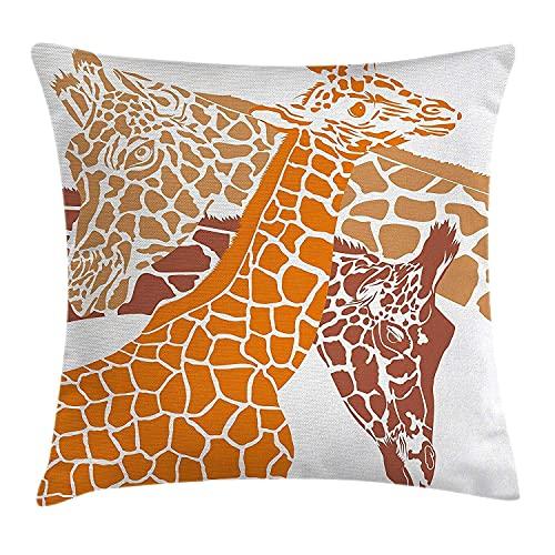Jacen shop - Federa per cuscino in cotone e lino, motivo: giraffa, schizzo di una famiglia, safari in stile africano, stile zoo, motivo mimetico, colore: arancione, bianco, marrone, per interni