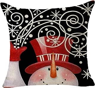 chaofanjiancai_Pillowcase Christmas Snowman Printing Square Throw Pillow Covers,18 x 18 Inch Cotton Linen Cushion Case for Sofa