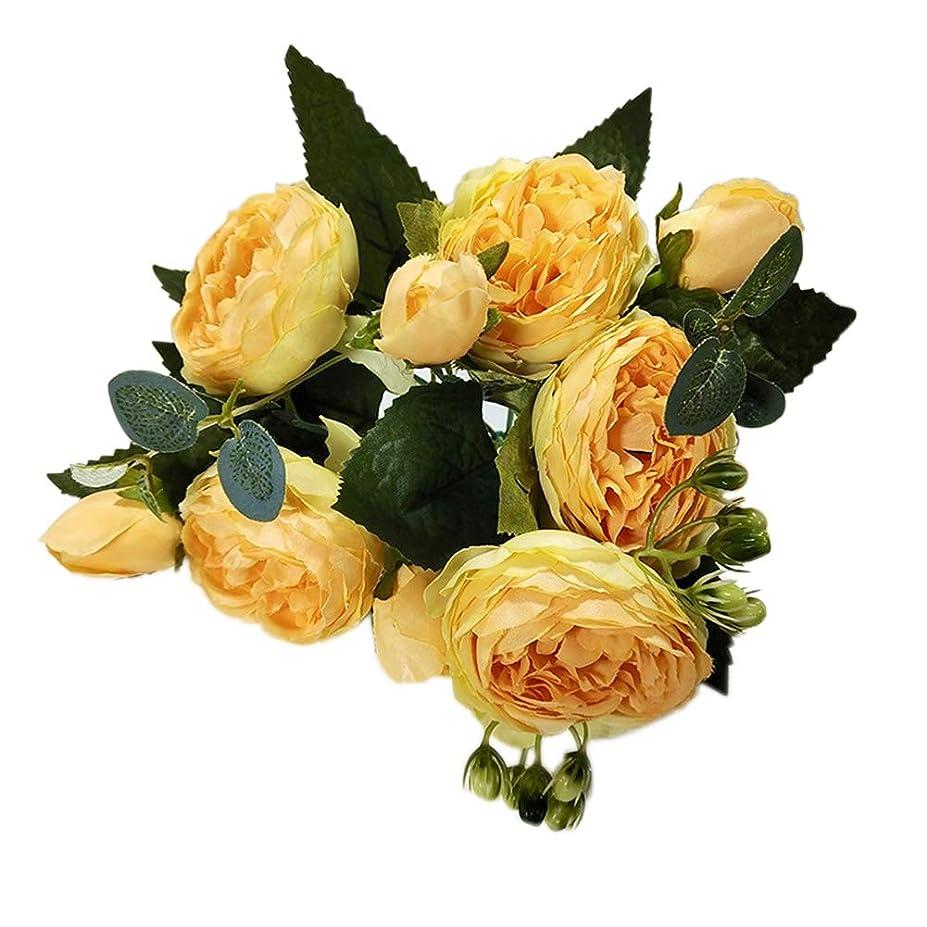 粘り強い密度グローブ5ピース美しいバラの花人工の小さな花束の花パーティー結婚式の装飾偽の花