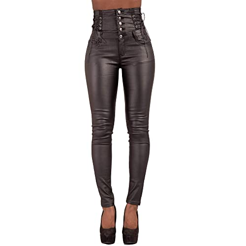 ad7fc345b5a12 Womens Leather Look Black Trousers Skinny Slim Fit Ladies Jeans Sizes UK  6-14