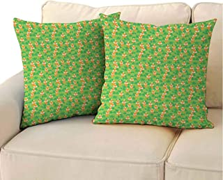 QIAOQIAOLO Soft Decorative Pillowcase Fox (Set of 2) Grunge Inspirations in Mountainside Illustration with Cartoon Foxes for Sofa Apple Green Orange Lime Green 18x18 inch