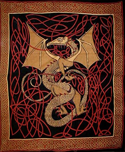 India Arts Celtic Dragon Tapestry Cotton Bedspread 108' x 88' Full-Queen Red