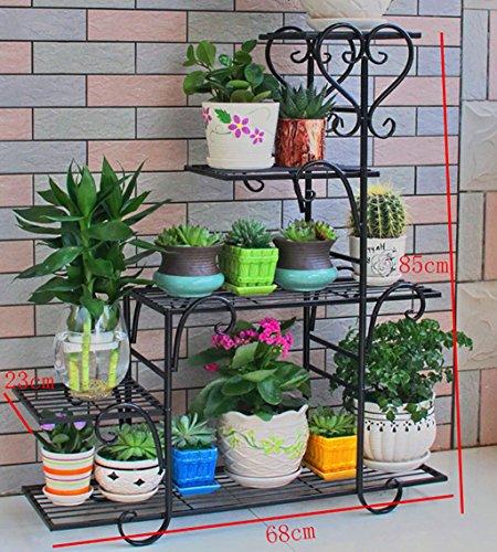 Porte-fleurs Pots de fleurs en fer forgé de plusieurs étages à l'intérieur et à l'extérieur Étagères de salon de style européen porte plante (Couleur : 1)