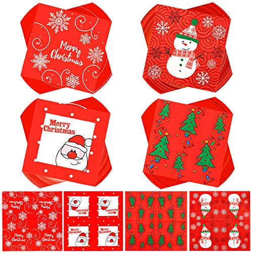 Whaline Christmas Disposable Paper Napkins 80 Sheet Red White Cocktail Napkins Santa Xmas Tree Snowman Snowflake Napkins for Christmas Holiday Dinner Party Supplies, 4 Designs, 13' x 13'