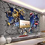 XCHBH Tapete Selbstklebende Tapete Wandbild (B) 300X (H) 210Cm3D Wandplakat Stereo Cartoon Cartoon Auto Roboter Wandkunst Große Fototapete Junge Schlafzimmer Kinder Zuhause Dekoration Kunst