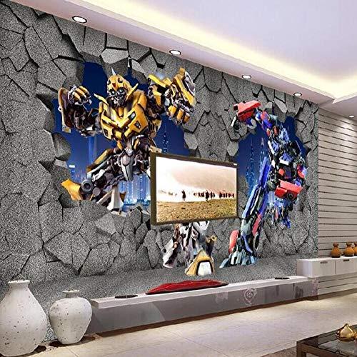 XCHBH Tapete Selbstklebende Tapete Wandbild (B) 200X (H) 150Cm3D Wandposter Stereo Cartoon Cartoon Auto Roboter Wandkunst Große Fototapete Junge Schlafzimmer Kinderzimmer Dekoration Kunst