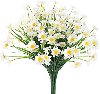 6 Bundles Artificial Daisy Mums Flowers Outdoor Fake Fall Flowers for Decoration No Fade Faux Plastic Autumn Flower Garden Po