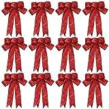 Noeuds à paillettes de Noël,12 pièces de ruban de Noël rouge noeuds de guirlande de Noël noeuds d'arbre de Noël noeuds de ruban cadeau pour les décorations de fête de Noël présente,9 x 7 pouces