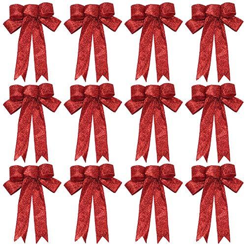 Frgasgds 12 Stück Weihnachten Band Schleife Funkeln Weihnachten Schleife Rot Weihnachten Kranz Bogen für Weihnachten Party Dekoration (9 x 7 Zoll)