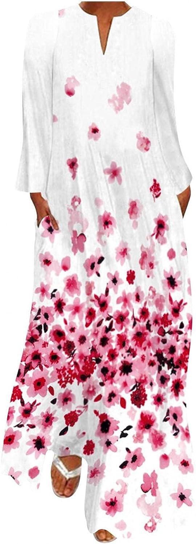 KYLEON Women's Elegant Maxi Dress Long Sleeve Casual Loose Straight Long Dress Boho Vintage Kaftan Shirt Dress for Women