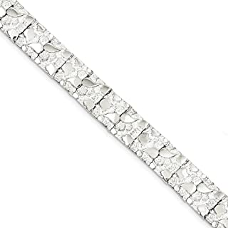 Solid 925 Sterling Silver Nugget Bracelet (12mm)