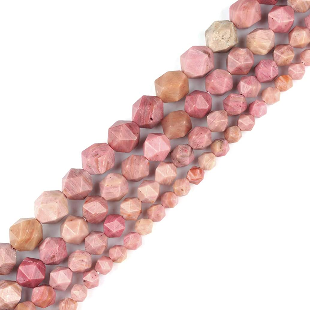 6mm 8mm 10mm 12mm AAA Grade Faceted Beads Natural Stone Beads DIY Precious Gemstone Loose Strand Beads for Jewelry Making Perles Semi (Rhodonite, 8MM)