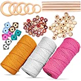 Macrame Kit, Macrame Cord(Yellow, Pink,Cream)3 Pack Wall Art 100% Natural Macrame Rope for DIY Plant Hangers, Crafts, Knotting. Macrame Supplies Including Rings, Macrame Beads, Sticks and Booklet