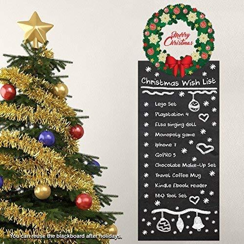 Wallflexi Navidad Decoraciones Pegatinas de Pared Guirnalda Wishlist Pizarra Pared murales Adhesivos salón niños guardería Escuela Restaurante Cafe Hotel casa Oficina decoración, Multicolor