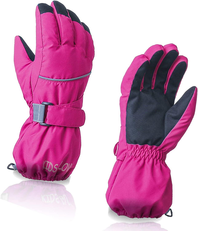 OhhGo Winter Gloves Windproof Waterproof Wear- resistant Mitten for Boys Girls Skiing Snowboarding