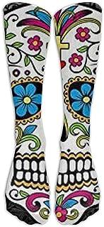 Calcetines Largos de algodón con diseño de Calavera y Flores para Mujer