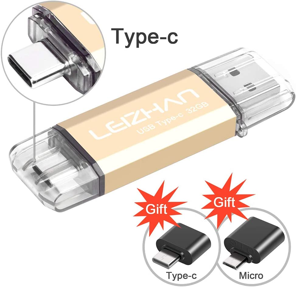leizhan USB C Flash Drive 32GB, Photostick for Type C Smartphones, Samsung Galaxy S10,S9, S8,S8 Plus,Google Pixel XL, with USB OTG Adapter Micro and Type-C USB to USB Converter