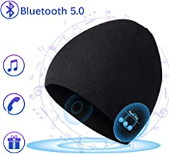 Bluetooth Hat Beanie for Mens Gifts, Music Hat with Wireless Bluetooth V5.0 Winter Hat Built-in HD Stereo Speakers & Microphone with Rechargeable USB for Winter Fitness Outdoor Sports-Black