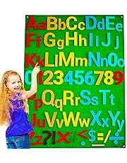 DeFieltro Abecedario de Fieltro Montessori para Niños - Aprendo el Alfabeto Letras y Números - Tabla de Actividades con Velcros de Pared Grande