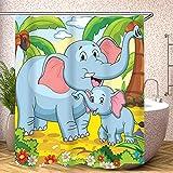 Fgolphd Elefant Duschvorhang Textil 120x200 180x200180x180 200x240 Tier Bunt Pink Blau,3D-Druck 100prozent Polyester,Shower CurtainsWasserdicht (4,180 x 200 cm)