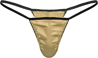 Zaldita Men's Satin Low Rise G-String Thong Bikini Briefs Underwear Frilly Everyday T-Back Tanga
