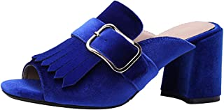 KemeKiss Womens Thick Heels Mules Sandals Slip On Summer Slippers Outdoor