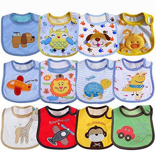 SLOSH 12 Bébé Bavoirs Imperméable Coton Bavoirs Bandana Bavette pour Bébé Garçon 0 à 36 mois (12 pcs Unisexe)