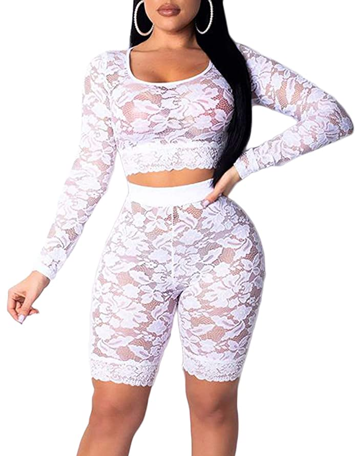 Women See Through Off Shoulder Long Sleeve Fishnet Crop Tops Bodycon Shorts Party Clubwear Tracksuit 2pcs Outfit Set