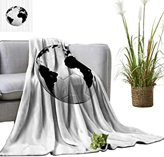 YOYI Warm Blanket Ball with World Map Football Cup Entertaining Professial Game Winter Lightweight Thermal Blankets for Couch Bed Sofa 60