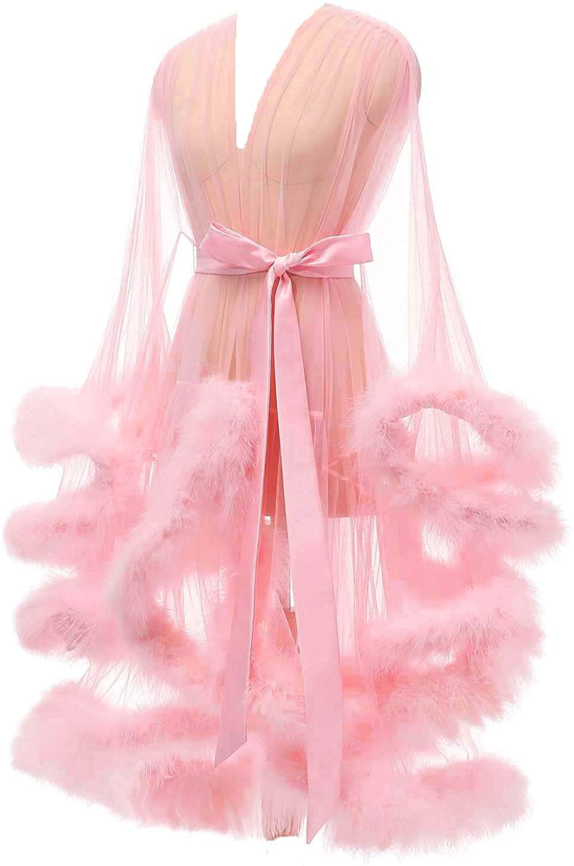 Yexinbridal Feather Robe Sexy Sheer Tulle Mesh Fur Bridal Illusion Boudoir Lingerie Bathrobe Nightgown
