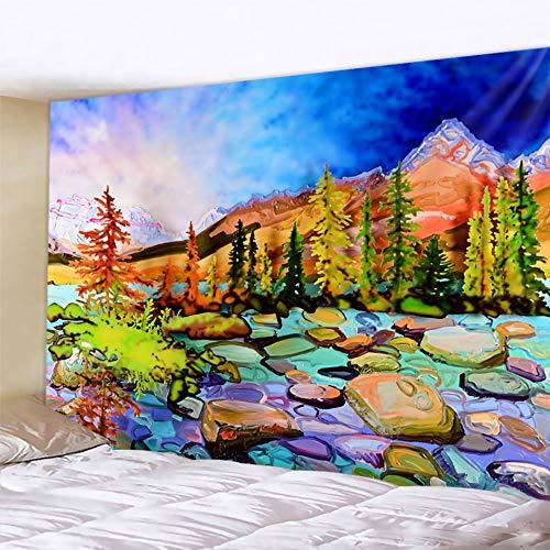 JXWR Tapiz de Pintura al óleo de Paisaje Tapiz de Pared Decorativo Bohemio colchón Mandala brujería decoración del hogar Hoja Hippie 150x130cm