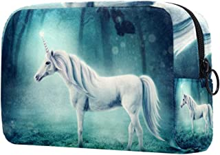 Makeup Bag Toiletry Bag for Women Unicorn In Forest Skincare Cosmetic Handy Pouch Zipper Handbag