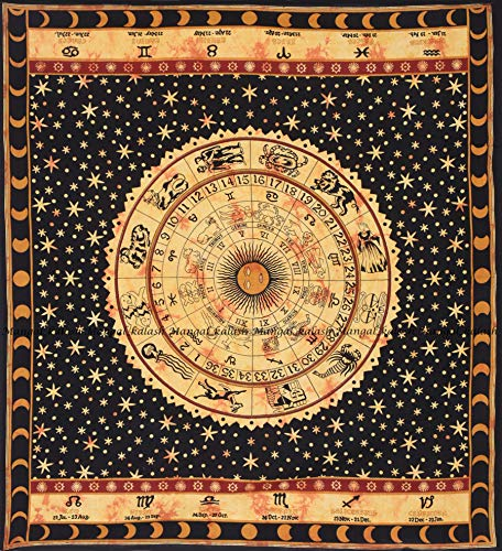 Yellow Zodiac Horoscope Tapestry, Indian Astrology Hippie Wall Hanging, Ethnic Decorative Art, Celtic Zodiac Tapestry.