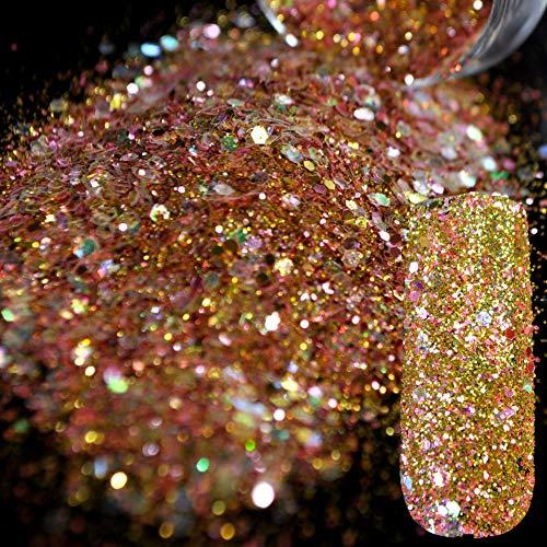 QSDFG Dazzling Abalone Pailletten Stof Nagel Glitter Decoraties Nagel Art Ontwerpen Goud Roze Acryl UV Mix Glitter Poeder 3D Nagel Art 280