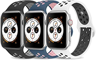 AdMaster Compatible with Apple Watch Band 42mm 44mm,Soft Silicone Replacement Wristband Compatible with iWatch Series 1/2/3/4 - M/L BlackGray/WhiteBlack/MidnightBlue VintageRose