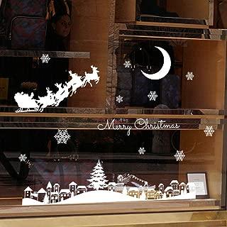 Feccile Merry Christmas Santa Claus Elk Sleigh Removable Vinyl DIY Wall Window Door Mural Decal Sticker Retail Store/Coffee House/Restaurant/Supermarket/Dress Shop 35 x 50 cm
