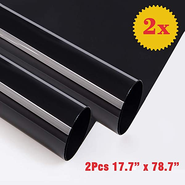 OUBAY 2PCS Blackout Window Film Privacy Window Film Adhesive Residential DIY For 100 Light Blocking Nap Time Night Working Heat Rejection Baby Room And Day Sleeping Matte Black 17 7 X 78 7