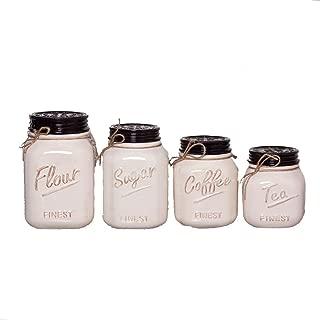 White Ceramic Mason Jar Canister Set (Set of 4) by ZallZo
