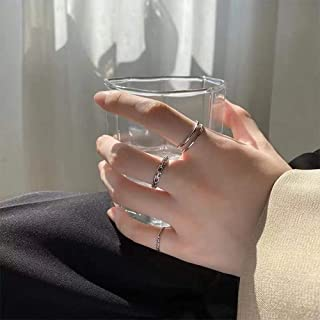 Aimimier Gothic Knuckle Ring Set 3Pcs Punk Half Open Engraved Finger Ring Huggie Silver Rings for Women or Men