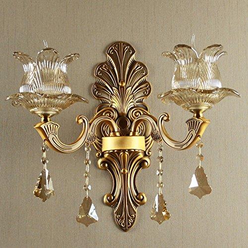 Applique murale vintage E14 - 2 ampoules - Rond - Cristal - Verre transparent - Abat-jour - Lampe classique - Couleur laiton - Éclairage mural pour salon, chambre à coucher, restaurant - couloir (B)