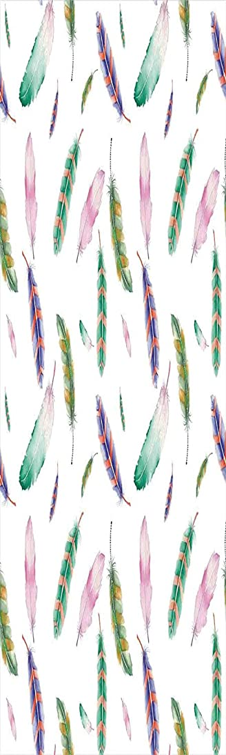 Feather House Decor 3D Decorative Film Privacy Window Film No Glue,Frosted Film Decorative,Irregular Watercolors Feather Patterns in Soft Pastel Mint Plumage Design,for Home&Office,23.6x70.8Inch Multi xbjh844886608629