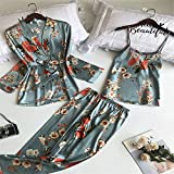 BABIFIS - Conjunto de 3 pijamas para mujer, diseño de flores y pijama de manga larga, a, large