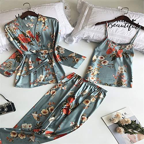 BABIFIS - Pijamas para mujer, 3 piezas, de moda, con correa de satén, ropa de noche para mujer, diseño de flores, estampado de flores, a, L
