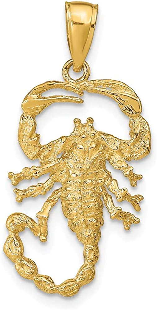 14k Yellow Gold Solid Scorpion Pendant Charm Necklace Zodiac Insect Arachnid Fine Jewelry For Women Gifts For Her