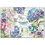 Stamperia Papel de arroz Hortensias and dragonfly, 48 x 33 cm, Multicolor,