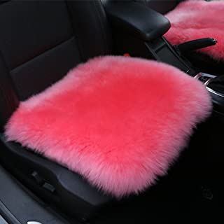 Altopcar Wool Car Interior Seat Cover, Fluffy Faux Sheepskin Seat Cushion Pad Winter Mat Universal Fit for Comfort in Auto, Plane, Office, or Home(18 Inch X 18 Inch) (1 Pcs Pink)