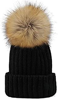 Yetagoo Knitted Warm Winter Slouchy Beanie Hats with Faux Fur Pom Pom Hat Chunky Slouchy Ski Cap (Adults and Kids)