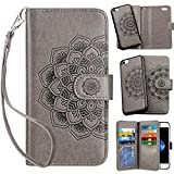 Vofolen 2-in-1 Case for iPhone 8 case iPhone 7 Case Wallet Card Holder ID Slot Detachable Strap Protective Slim Hard Shell Magnetic PU Leather Folio Pocket Flip Cover Case for iPhone 7/8 Mandala Grey